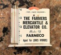 "1950S Farmers Mercantile Elevator Company Rain Gauge 4.5""T Metal W Glass Tube"