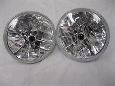 """7"""" Red Dot GLASS Tri Bar Headlights H4 Bright Fits Ford Chevy Nova 55 56 57"""