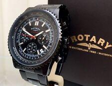 ROTARY Mens Watch BLACK OCEAN Range Chronograph RRP £190 Genuine Boxed (r39