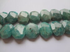 14x20mm Faceted Slab Nuggets Natural Russian Amazonite Gemstone Beads - 4 pcs