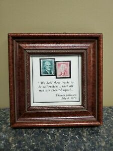 Thomas Jefferson 1 cent & 2 cent stamps in excellent condition (framed)