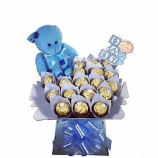 NEW Baby Boy Ferrero Rocher & Teddy cioccolato bouquet