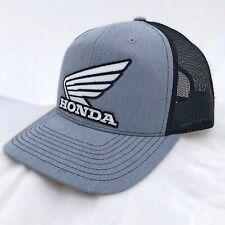 Honda Wing GREY Black Trucker Hat Mesh Snapback HRC Modern Racing Motorcycle