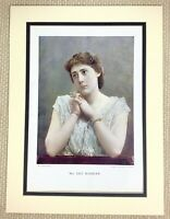 1899 Antique Print Portrait of Lily Hanbury English Actress Victorian Girl Lady