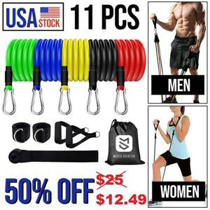 11Pcs Resistance Bands Home Workout Exercise Cross fit Fitness Training Gym Tube
