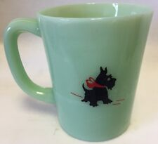 Mug w/ Scottie Scotty Dog / Scottish Terrier - Jade Jadeite Green Glass - USA