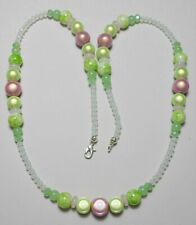 """24"""" necklace, Pink + Green Miracle beads + glass beads"""