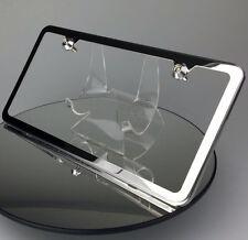 Slim 2 Holes Bmw License Plate Polish Frame w/ Aluminum Circle Type Screw Cap