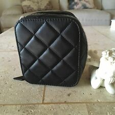 TRISH MCEVOY MAKEUP PLANNER CLASSIC BLACK QUILTED FAUX LEATHER