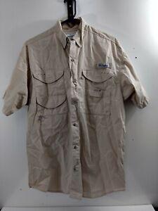 Columbia PFG Tan Fishing Shirt Men's Size Small Short Sleeve