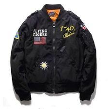 Cool Mens  Autumn MA1 Pilot Bomber Jacket Flying Tigers Flight Thin Jacket Coat