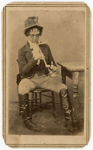 ACTOR JOHN SLEEPER CLARKE & PIPE (BOOTH FAMILY) COMEDIC BROADWAY NYC CDV PHOTO