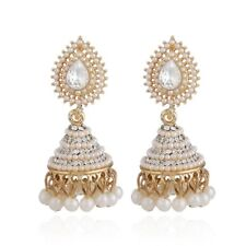 Retro Indian Earrings Pearl Pendant Jhumka Drop Ear Stud Wedding Dangle Jewelry