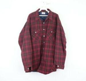 Vintage 70s OshKosh B'Gosh Mens XL Quilt Lined Double Pocket Plaid Shirt Jacket