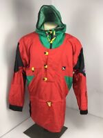 VTG 80s Serac Windbreaker Jacket Red Green Black Colorblock Retro Sz 40 Hoodie