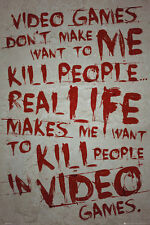 VIDEO GAMES DON'T KILL PEOPLE - QUOTE POSTER 24x36 GAMING 34049