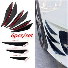 6Pcs Gloss Black ABS Car Front Bumper Body Fins Spoiler Canards Refit Moulding