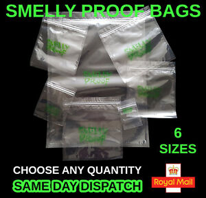 Smelly Proof Bags Clear Resealable Smell Baggies Zip Food Bag Grip Seal All Size