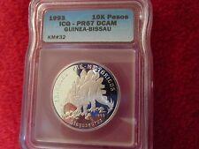 1993 Guinea Bissau .999 Silver coin bullion Dinosaur Stegosaurus ICG PR67 ngc