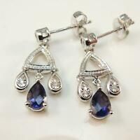 9 Carat White Gold Sapphire & Diamond Earrings
