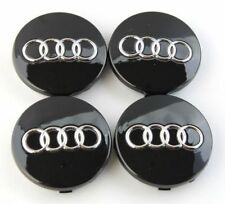 SET 4pz Tappi Coprimozzo neri per Audi A3 A4 A5 A6 TT RS4 Q5 Q7 S4 A8