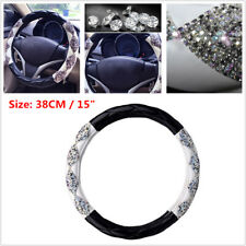 Car Steering Wheel Cover 38cm/15 inch Deluxe PU Leather Bling Diamond Universal