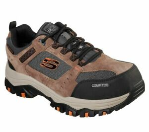 Skechers Men's Work Greetah Comp Toe Shoes 77183 Brown/Black  A4