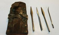 Vintage Barr Bros Burlap Gunny Sack Sewing Needles x 4 in Leather Case ~ 1890's