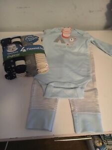 Gerber Organic Boy Set Blankets & Wonder Nation 2 piece outfit NEW 6-9 months