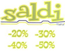CARTOLERIA -  Kit cartelli vetrofanie scritte Saldi -20% -30% -40% -50%