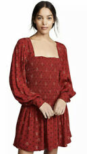 Free People Mini Dress Size M Red Two Faces Boho Long Sleeve Smocked Retail $128