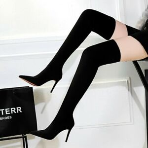 Womens High Stiletto Heels Over Knee Thigh Boots Pointed Toe High Shoes Slip On