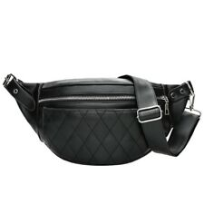Black Unisex Waist Belt Bag Fanny Pack Adjustable PU Leather Korean Style