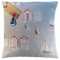 Vintage/Shabby Chic Clarke and Clarke Beach Huts Grey fabric Cushion Cover