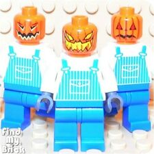 R6 Lego 3 Different Jack O'Latern Pumpkin Minifigures NEW