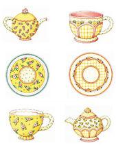 Yellow Tea Set Mary Engelbreit Cup Saucer Pot TeaPot Stickers Decals 25 Wallies