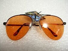 CLASSIC AVIATOR SUNGLASSES ORANGE COLOR TINTED LENS METAL FRAME W/SPRING HINGES