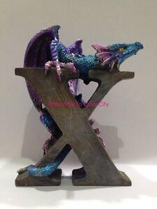"Black Dragon Alphabet ""X"" Dragon Statue Dragon Figurine Spell your Name or More"