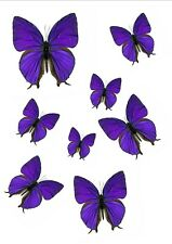 56 x PRETTY PURPLE EDIBLE BUTTERFLIES IDEAL 4 WEDDING BIRTHDAY CAKE TOPPERS WB5