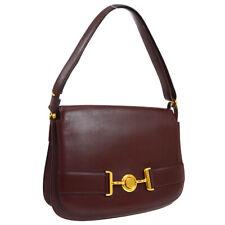 HERMES Vintage 1979 Shoulder Bag Purse Bordeaux Box Calf Authentic ⚪I JT08943