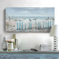 Ocean Beach Wall Art Framed Hand-Painted Seascape Oil Painting Living Room Décor