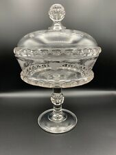 RARE 1880 Ripley Glass Co. Lidded Compote Dakota Baby Thumbprint Etched Vines