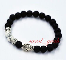 Black Volcano Stone Alloy Metal Buddha Tibet Buddhist Prayer Beads Mala Bracelet