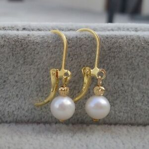 Hot 7mm Aaa Perfect South Sea White Pearl Earrings 14k Yellow Gold