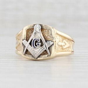 Vintage Masonic Signet Ring 10k Gold Size 9.5 Square Compass Blue Lodge