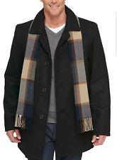 Tommy Hilfiger Men's Black Tall Wool Melton Coat with Scarf. Size Medium.