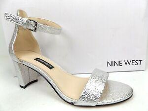 Nine West Womens Pruce3 Ankle Strap Heels Dress Sandals Size 6.0M Silver Texture