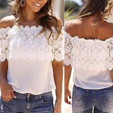 Fashion Women Summer Lace Vest Top Tank Casual Blouse Tops Off Shoulder T-Shirt