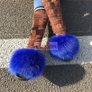 2020 INS Hot Women Fluffy Real Fox/Raccoon Fur Slides Slipper Flat Shoes Sandal