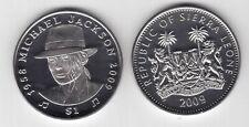 SIERRA LEONE - RARE 1$ UNC COIN 2009 YEAR KM#358 MICHAEL JACKSON